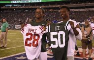 during the NY Jets vs Giants in the 3nd  pre-season game of the 2016 NFL season held at Met-Life Stadium  on August 27, 2016  Photo by Alan J Schaefer